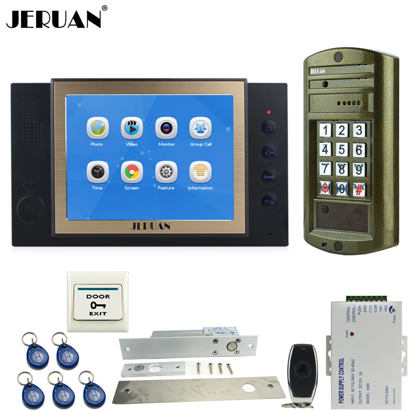JERUAN 8 inch TFT LCD Color Video Door Phone Intercom System kit Metal Waterproof password keypad HD Mini Camera 8GB Card +Power jeruan 8 inch tft video door phone record intercom system new rfid waterproof touch key password keypad camera 8g sd card e lock