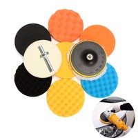 11pcs 7 Inch Polishing Waxing Buffing Sponge Pads Set M14 Thread For Car Polisher