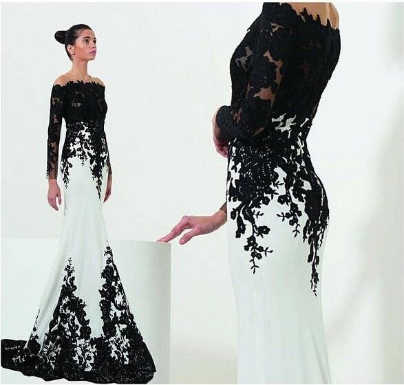 Русалка белый и черный вечерние платья 2016 длинные рукава boat neck аппликации кружева формальных мать Невесты платья