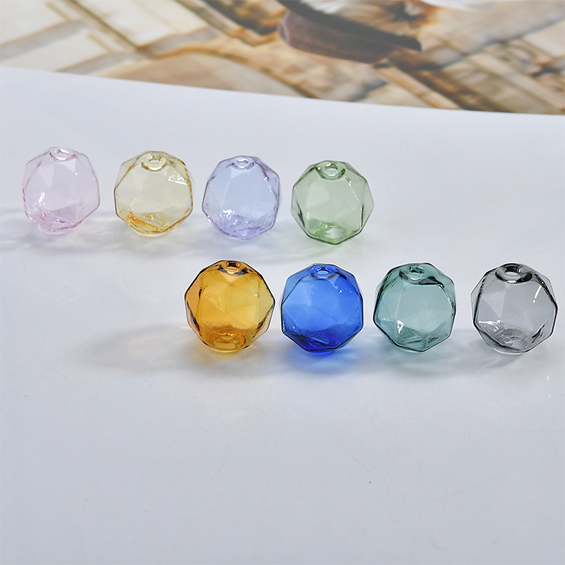 DIY Handicraft Accessories Color Transparent Section Bubble Bead Glass Hollow Perforated Bead Earrings Earrings Materials