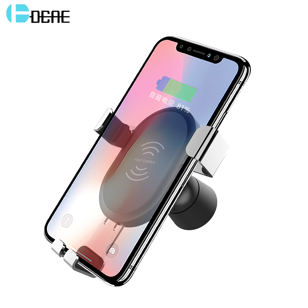 DCAE Qi Fast Wireless Car Charger For IPhone X 8 XS XR Qc