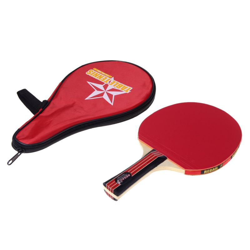 Long Handle Shake-hand Table Tennis Racket Ping Pong Paddle + Waterproof Bag Pouch Red Indoor Table Tennis Accessory ZW-01