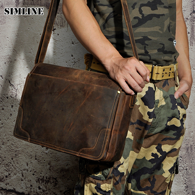 SIMLINE Vintage 100% Real Genuine Crazy Horse Leather Cowhide Men Handbag Shoulder Messenger Crossbody Bag Laptop Bags For Man simline 2017 vintage genuine crazy horse leather cowhide men men s messenger bag small shoulder crossbody bags handbags for man