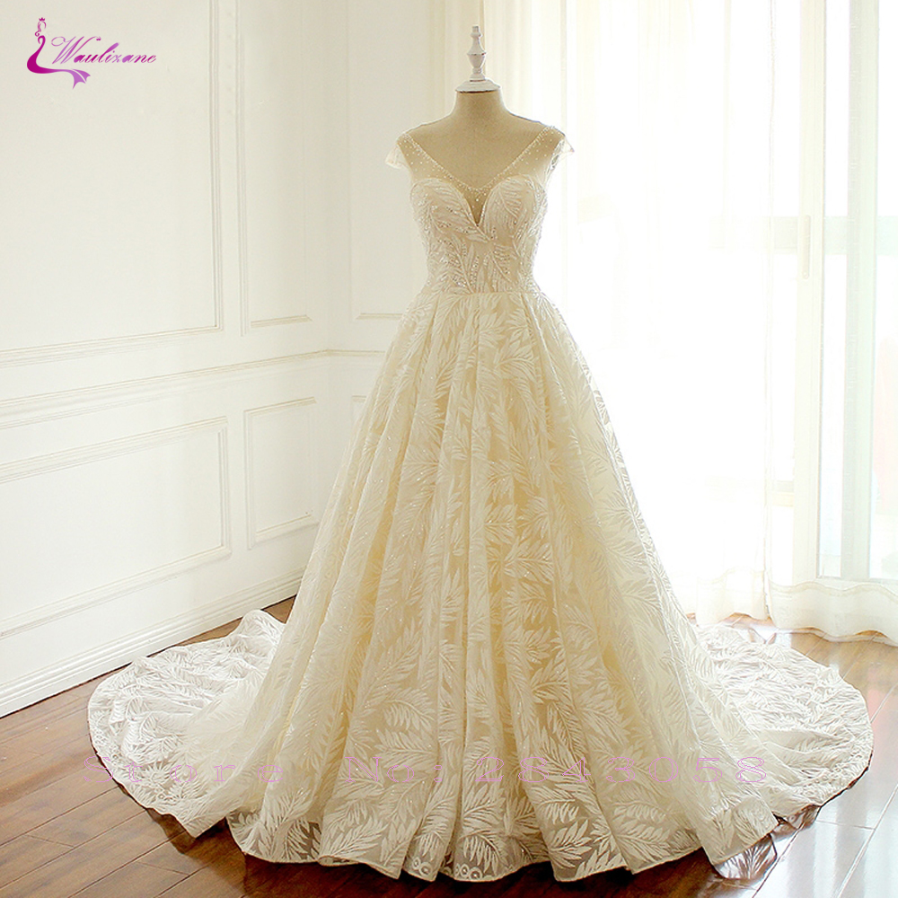 Waulizane Luxury Tree leaf Shape Appliques Elegant Lace A Line Wedding Dresses Deep V Neckline Bride
