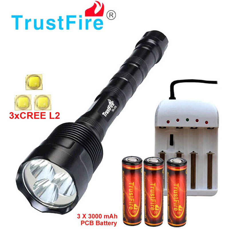Trustfire 3* XML L2 18650 flashlight 3*CREE L2 3800 LM 5 Mode LED waterproof Torch Lamp can use 2x 18650 / 3x 18650 Light lamp cree xml l2 led zoomable headlamp red green blue fishing 4 mode head lamp light torch hunting headlight 18650 battey usb charger