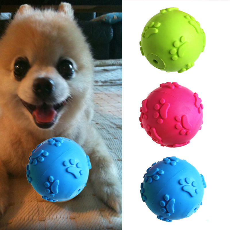 New 1Pc Funny Teeth Bite Rubber Dog Cat Play Ball Products Interactive Toys 3 Color On Sale