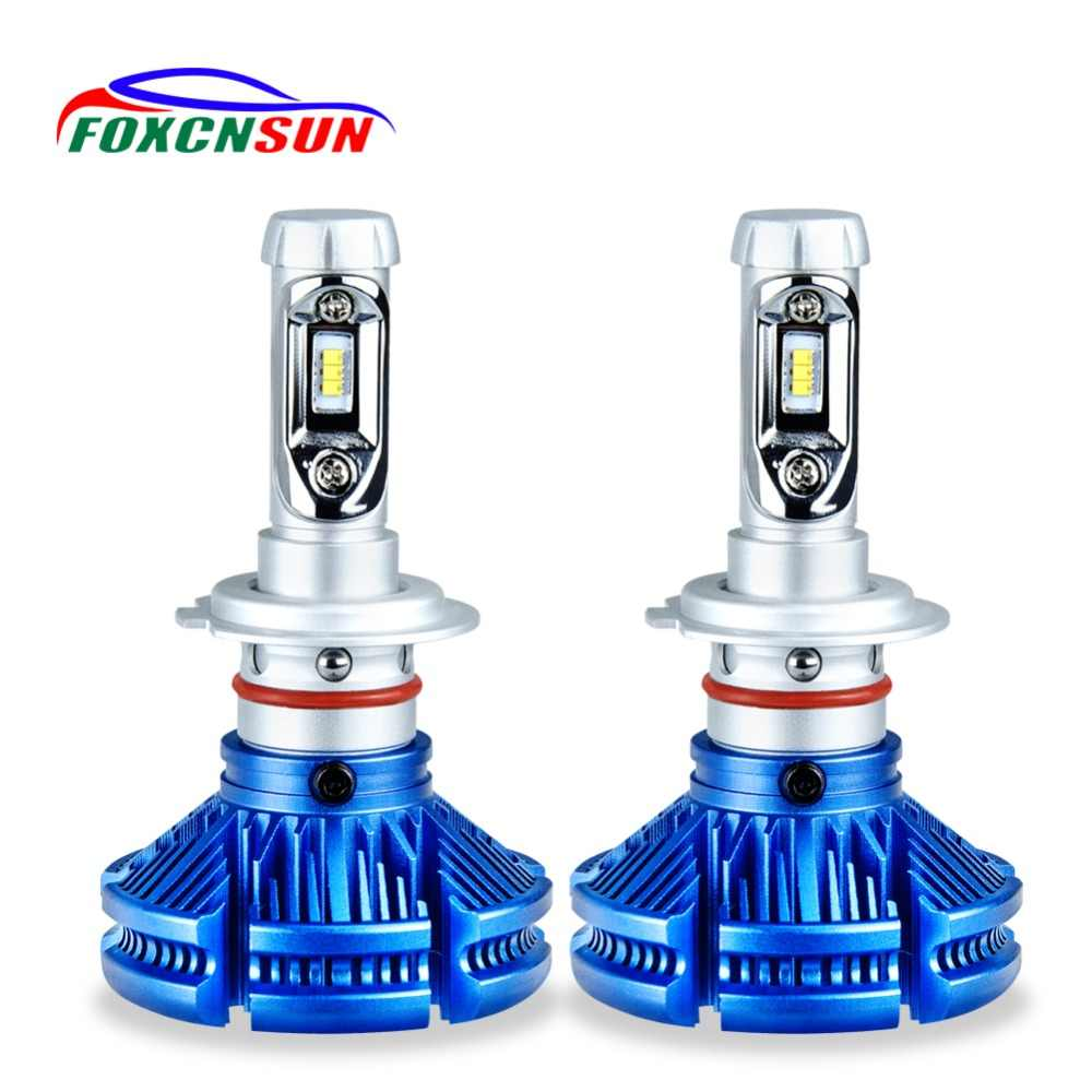 FOXCNSUN H4 H7 LED Car Headlight Fanless H1 H3 H11  HB4 HB3 9006 9005 Auto HI LO BEAM with ZES Chips 12000LM 6500K 50W ampoule