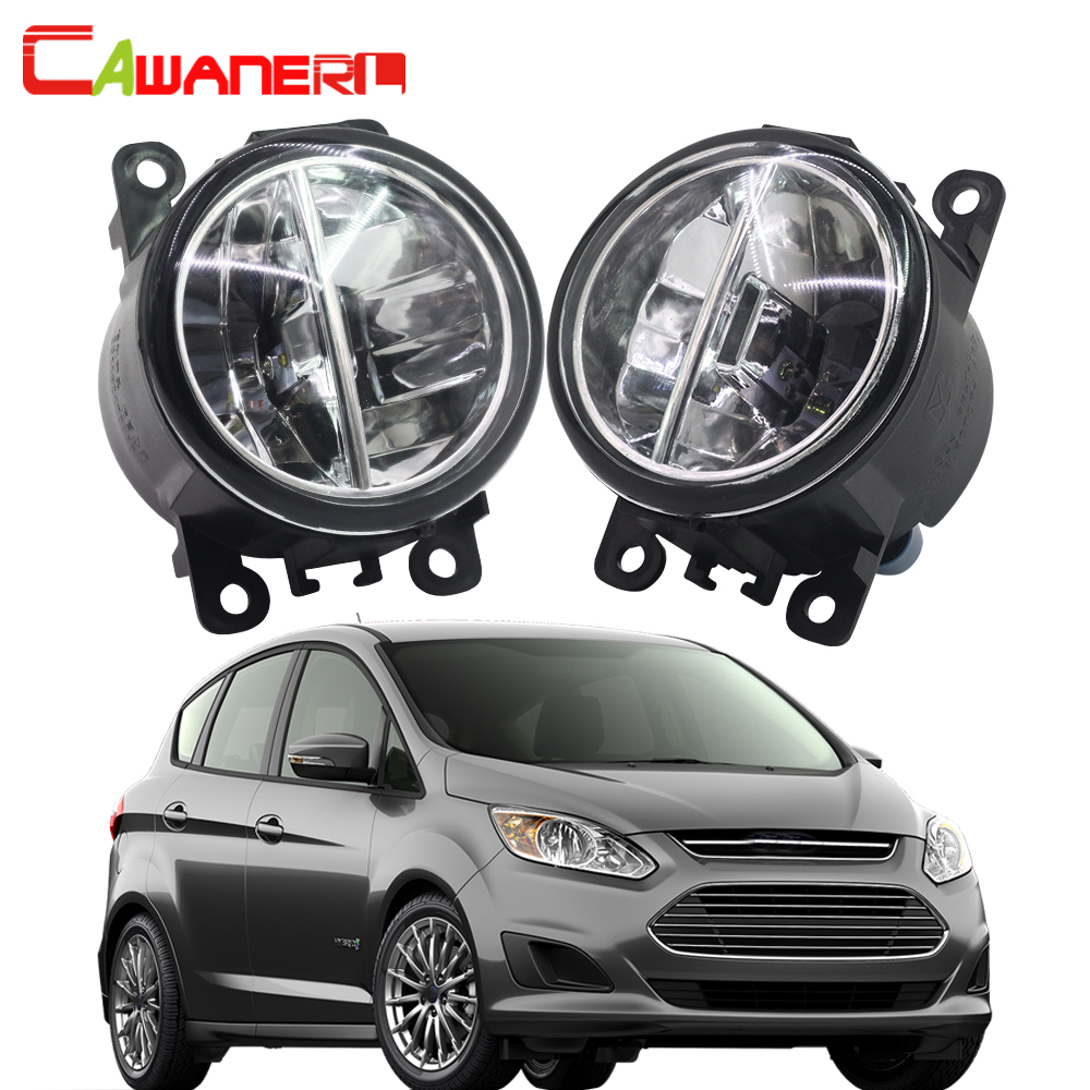 Cawanerl For Ford C-Max 2 MPV 2010-2015 Car Styling H11 LED Bulb Fog Light 4000LM 6000K White DRL Daytime Running Lamp 2 Pieces cawanerl 2 pieces car led fog light drl daytime running lamp white 12v accessories for toyota corolla saloon verso mpv