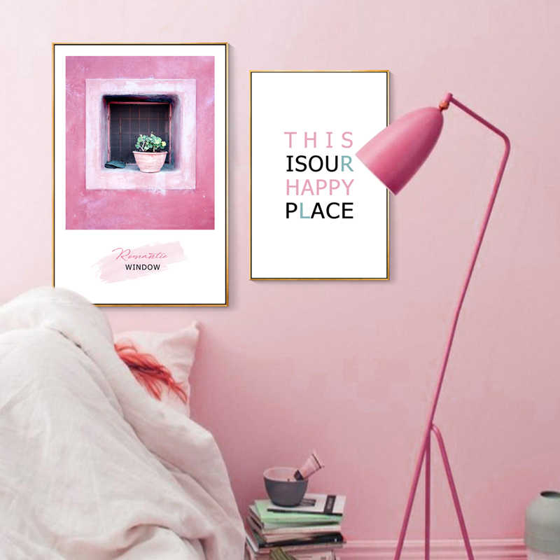 Modern Vogue Fashion Pink Girl Landscape Canvas Print Painting Poster Art Wall Pictures for Living Room Home Decor Wall Decor