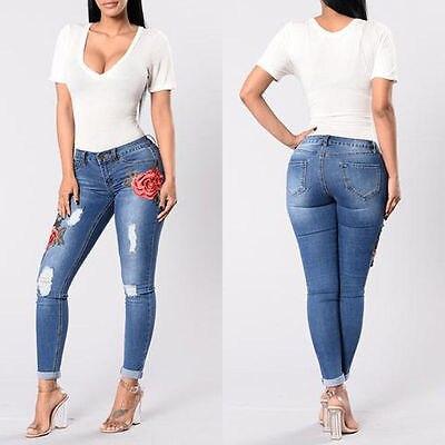 Lápiz Ripped Elástico Denim Skinny Cintura Azul Pantalones Pantalón Alta Más Nuevo Floral Vaqueros Stretch Agujero Vintage Tamaño Mujer wYqT7X