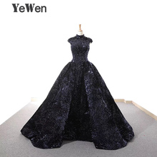 Robe De Soiree New Elegant Navy Blue Sequined Evening Dress 2018 Long Sparkle High Collar Wedding Party Gowns Formal YeWen
