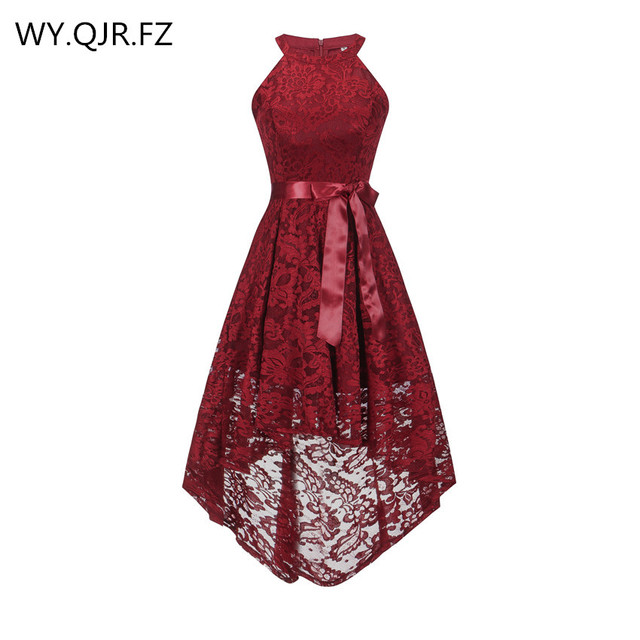 OML 526J#Front short long back wine red halter Bow Bridesmaid Dresses wedding party dress prom gown wholesale fashion clothing