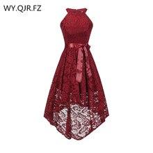 OML 526J # ด้านหน้าสั้นกลับยาวไวน์สีแดงHalter Bowชุดเจ้าสาวชุดแต่งงานชุดราตรีขายส่งเสื้อผ้าแฟชั่น