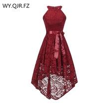 OML 526J # ön kısa uzun geri şarap kırmızı yular yay gelinlik modelleri düğün parti elbise balo elbisesi toptan moda giyim