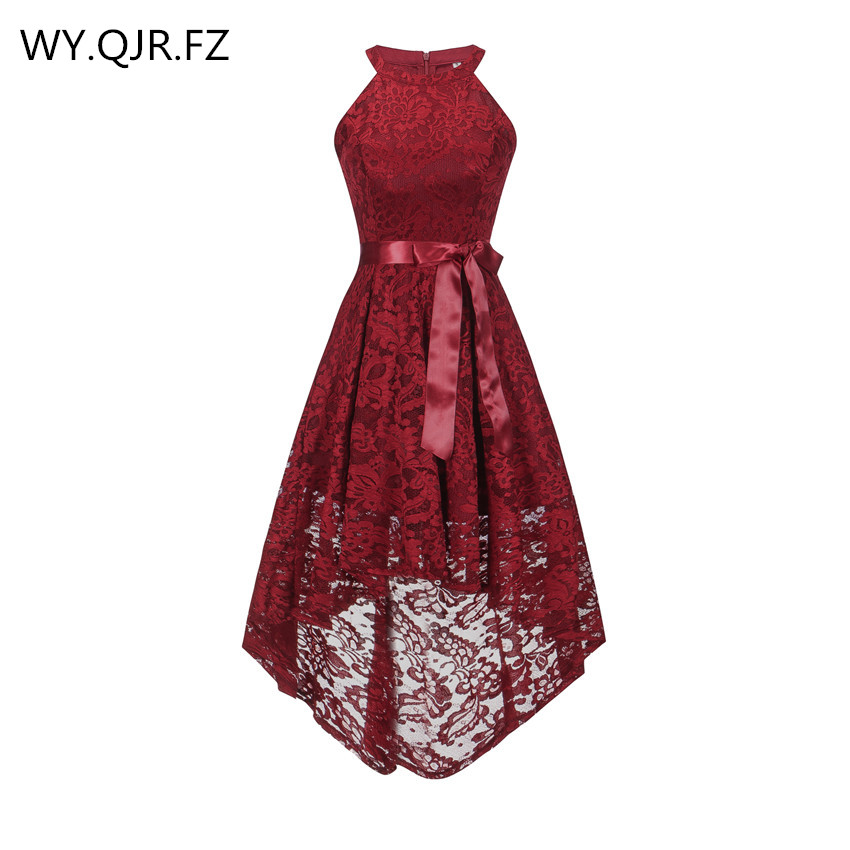 OML526J#Front Short Long Back Wine Red Halter Bow Bridesmaid Dresses Wedding Party Dress Prom Gown Wholesale Fashion Clothing