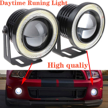 2.5 Inch 30W COB Angel Eyes Fog Lights Led Car Headlight Lamp DRL Universal Daytime running light white Halo Angle Eyes Ring цена 2017