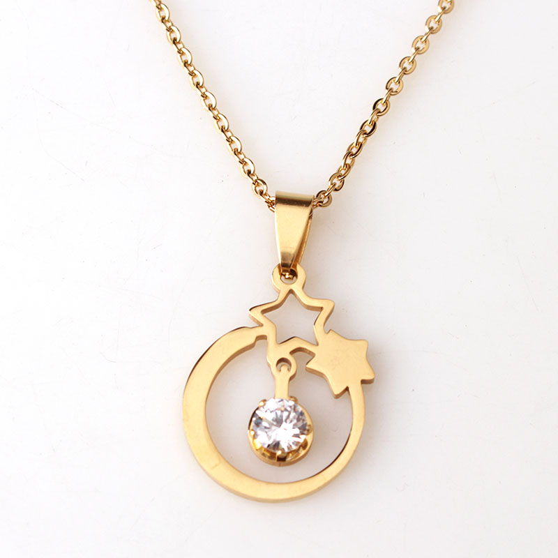 New design product stainless steel gold star necklace with cz two new design product stainless steel gold star necklace with cz two five point stars pendant necklace for fashion women in pendant necklaces from jewelry mozeypictures Image collections