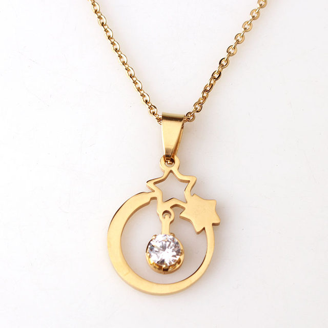 Online shop new design product stainless steel gold star necklace new design product stainless steel gold star necklace with cz two five point stars pendant necklace for fashion women mozeypictures Image collections