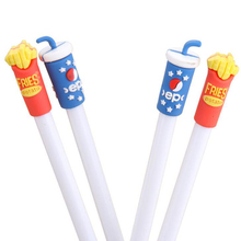 Kawaii novel Snack Cola and French Fries 0.5 mm Gel pen Student exam pen writing supplies Office School Gel-Ink Pen Child gift цена
