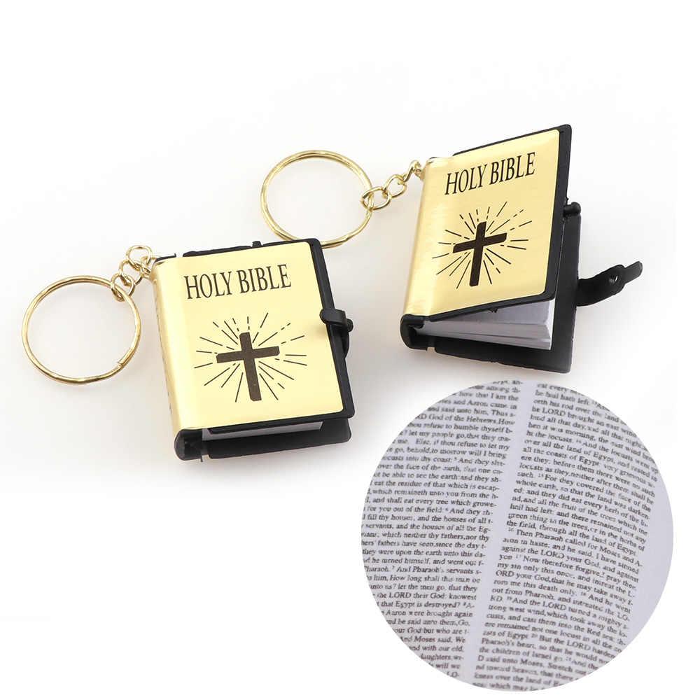 ... Two Models English Version Mini Religious Christian HOLY Bible Keychain  Key Holder Women Bag Charm Gift ... c4983c88fc77