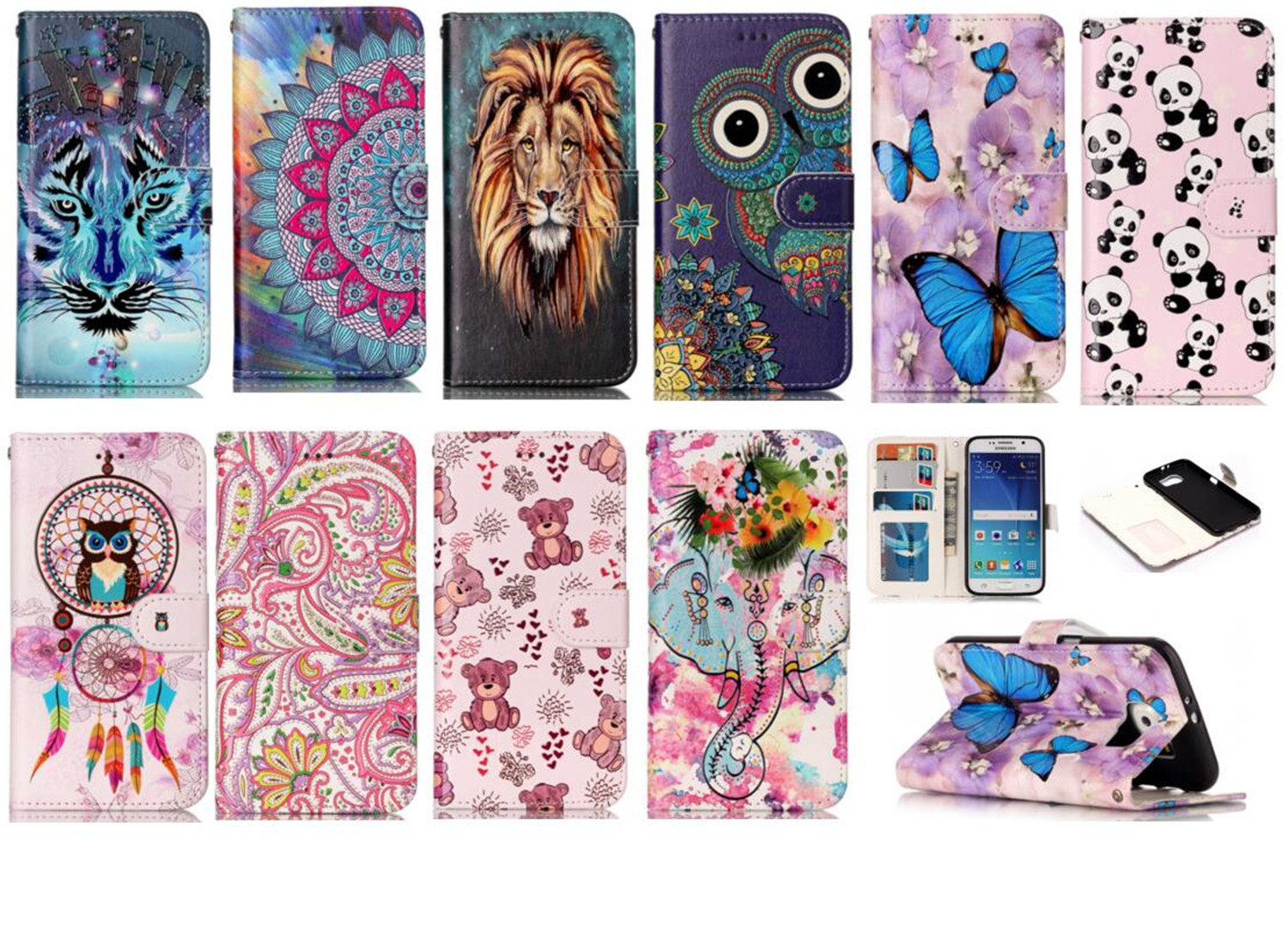 Case for Samsung Galaxy S6 PU+TPU Case for Samsung S6 SM-G9200 G9208/SS G9209 G920FD/K/0L/I/S/A/T/R7 Embossed Varnish phone bag