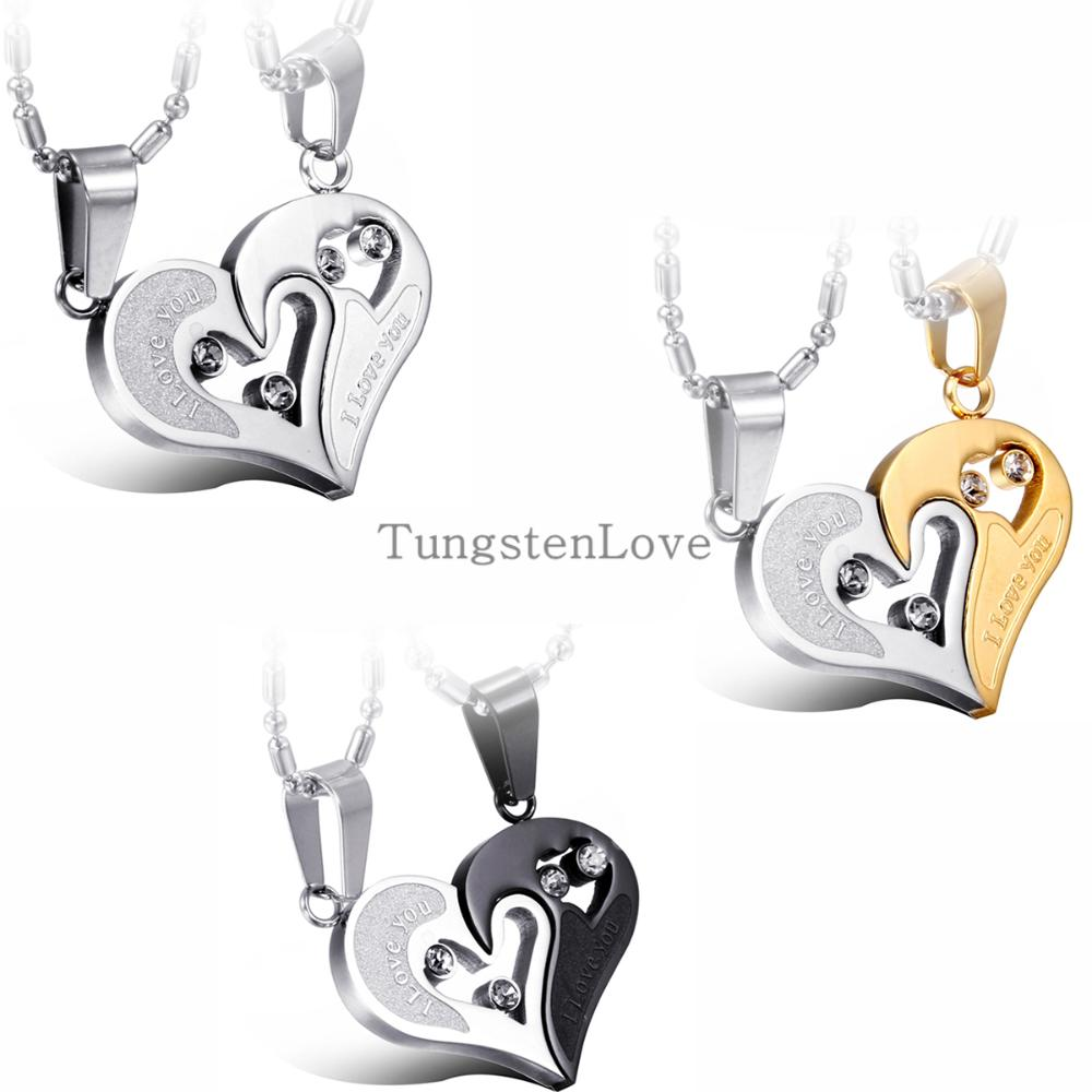 Fashion Korean Pendant Necklaces Engrave I Love You Matching Hearts CZ Crystal Couple Necklace Set 316L Stainless Steel 1 pair