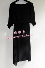 13 formal ol elegant loose half sleeve medium-long pleated strapless chiffon one-piece dress