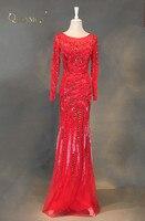 Moda sirena Vestidos de noche 2018 de lujo con cuentas de manga larga rojo vestido de fiesta vestido formal tulle vestidos de novia