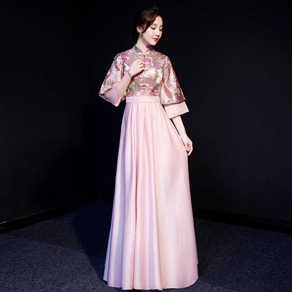 Rose Red Bridemaid Wedding Party Dress Full Length Gown Winter New Half Sleeve Qipao Chinese Style Cheongsam Vestidos Size S-XXL