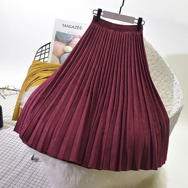 2018 женская элегантная юбка макси с высокой талией модные весенние женские замшевые юбки длинные плиссированные женские юбки винтажные юбки Saia