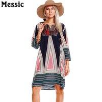 Messic Boho Flare Half Sleeve V Neck Lace Up Women Beach Dresses 2018 Vintage Floral Print