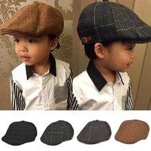 2015 Новый Дети Мальчики Шляпы Осень Зима Стиль Моды Плед Берет Hat Boinas Плоские Крышки для Детей