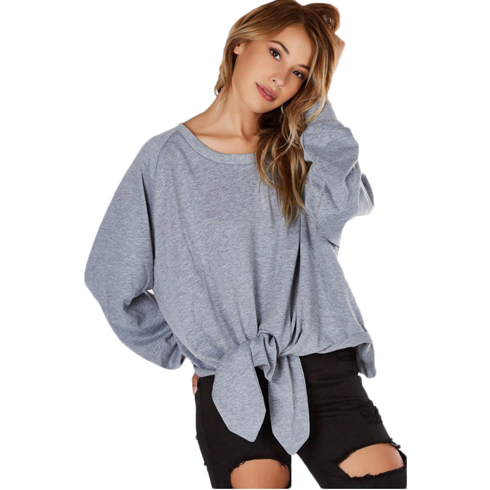 Oversized 2017 Spring Autumn Womens Long Sleeve Tops Loose Casual Warm Hoodies Sweatshirt Lace up