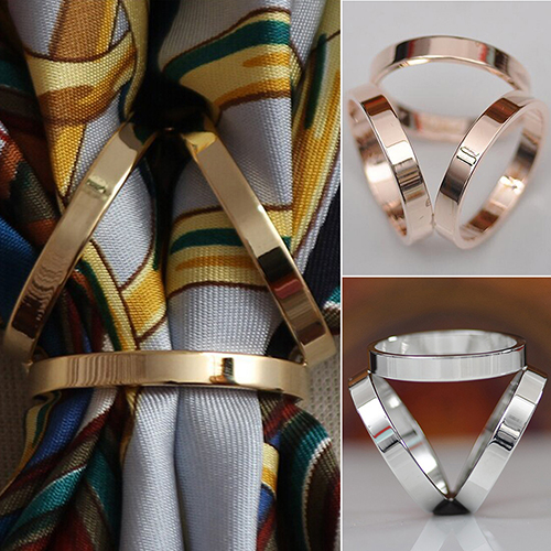 Fashion Rose Gold Plated Trio Scarf font b Ring b font Silk Scarf Buckle Clip Slide