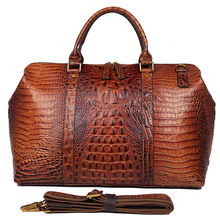 J.M.D High Quality Leather Alligator Pattern Women Handbags Dufflel Fashoin Mens Travel Bag Luggage 6003B