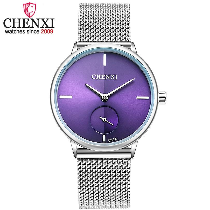 CHENXI Marque De Luxe Horloge Femmes Montre Argent Acier Inoxydable Maille ceinture Montres Dames De Mode Quartz-montres Relogio Feminino