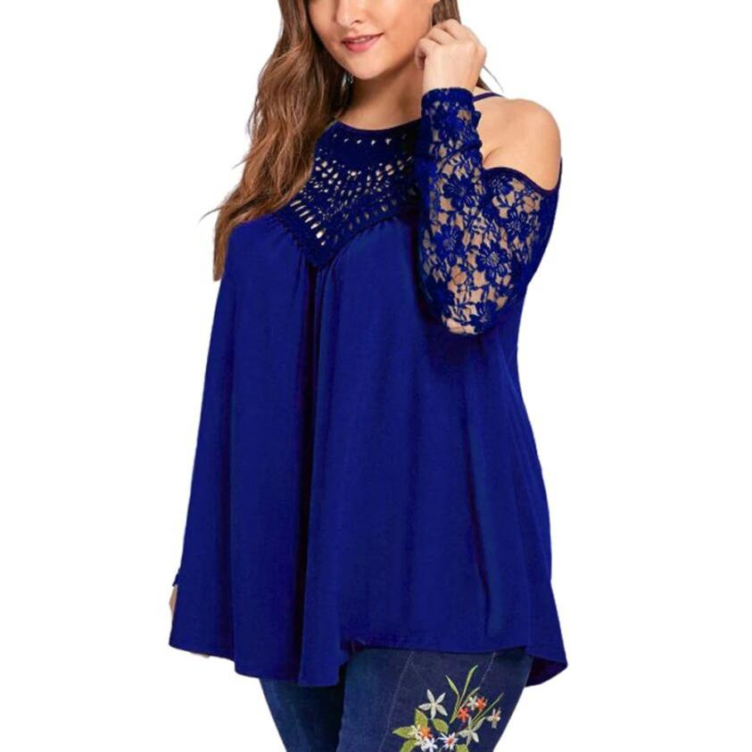 Women Tops 2019 spring Blusas Ladies Sexy Tunic Off Shoulder Long Sleeve Pullover Casual Loose Blouses Shirts Plus Size clothing