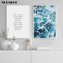 NUOMEGE Nordic Posters And Print Letters Abstract Sea Wall Art Canvas Painting  Pictures For Living Room Home Decoration
