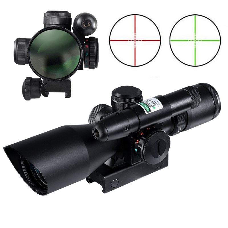2.5-10x40 Tactical Rifle Scope Dual illuminated Mil-dot w/ Rail Mount-Shockproof, Waterproof, Fogproof 2 5 10x40 tactical rifle scope dual illuminated mil dot with red laser rail mount