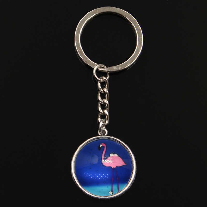 ใหม่แฟชั่นอ้าง Flamingos Crane แก้ว Cabochon พวงกุญแจเงินสี Keyring Key CHAIN ของขวัญเครื่องประดับ