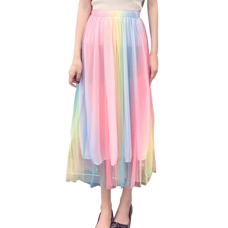 2018 Spring Summer New Women Skirts Rainbow Elastic Colourful Tulle Beach Mesh Long Pleated Tutu Skirt Female Jupe Longue