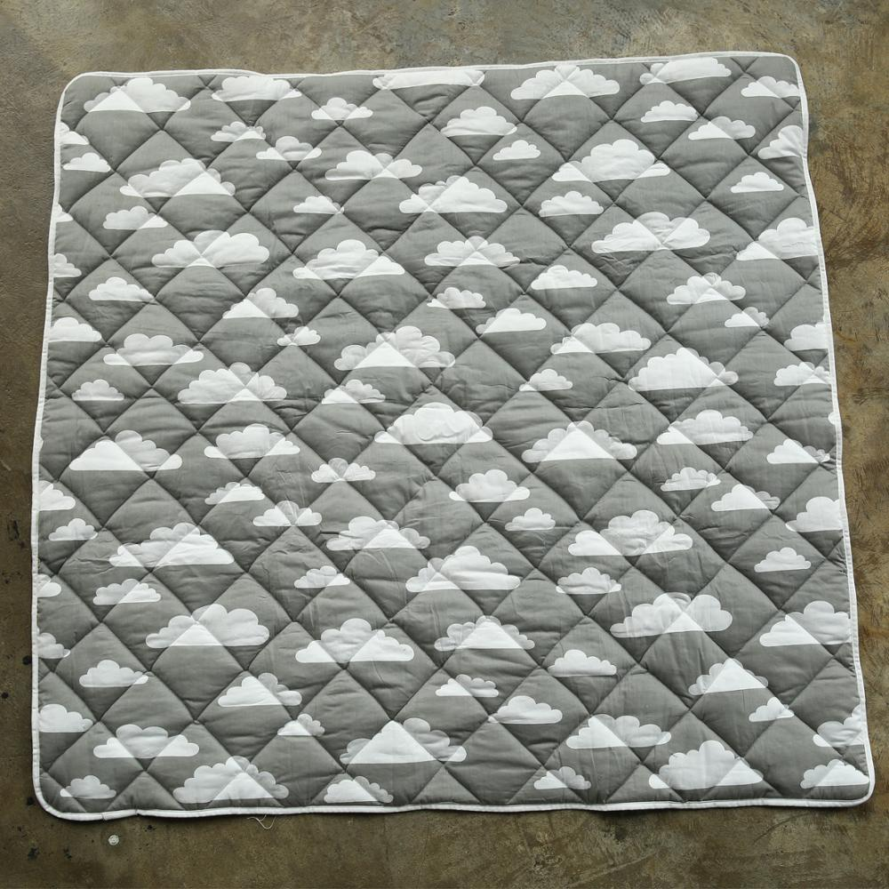 Tapis de jeu bébé anti-dérapant carré doux coton gris nuage enfants tapis de dentition tapis de sol enfants couverture INS bébé ramper tapis de jeu
