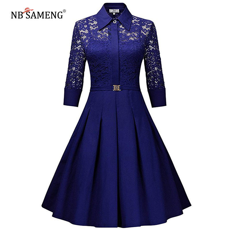 Trendy Clothes Store 2017 Women Summer Vintage Dress Rockabilly Lace Party Dresses Black Slim Elegant Ladies Evening Party Vestidos De