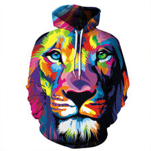 Colour Lion 3D Printed Plus Size Sweatshirts Tracksuits Pocket Jackets Casual Hooded