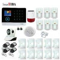 SmartYIBA WIFI GSM 3G Alarm System Security Home Burglar Alarm System APP Control Alarm Video IP Camera Solar Power Siren Kit