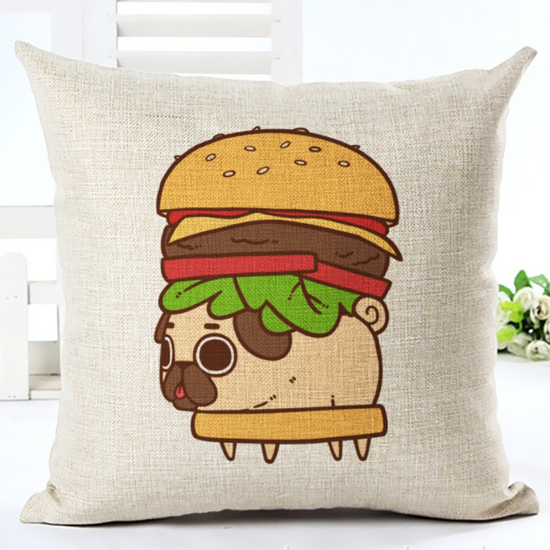 2017 Hot Selling Food dog Home Decorative Sofa Cushion Throw Pillow Case Cotton Linen Square Pillows