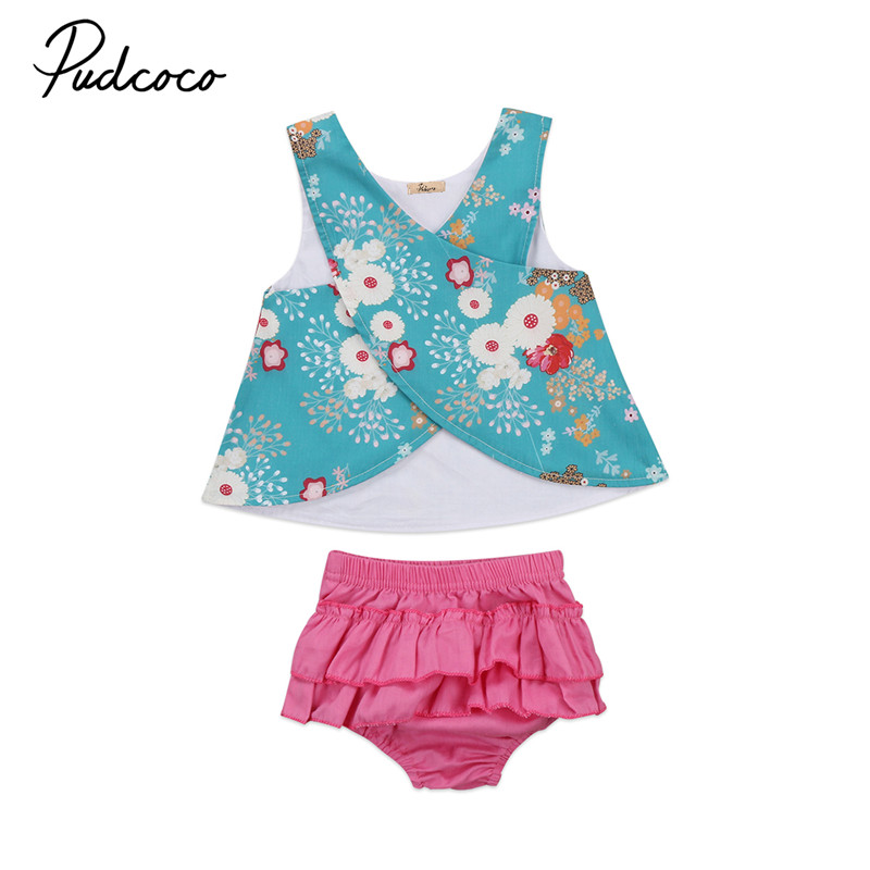 Hot Sale 2pcs Flower Infant Sleeveless Clothes Set Baby Girls Vest Tops T-shirt+Shorts Pants 2017 New Outfits Clothes SetS 0-2Y