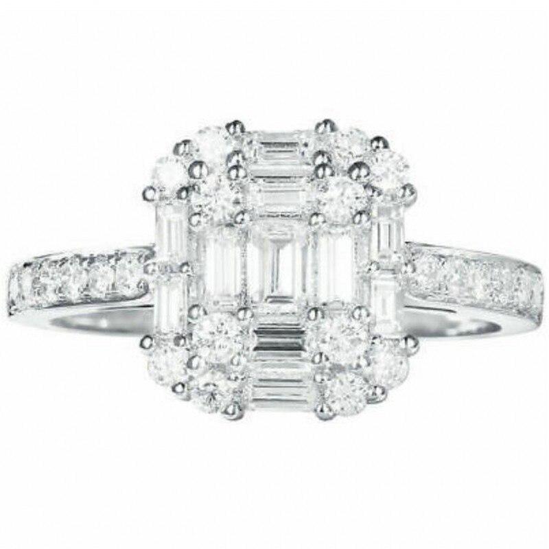 Infinity tout nouveau bijoux de luxe 925 en argent Sterling T princesse coupe blanc clair 5A cubique zircone femmes bague de mariage cadeau