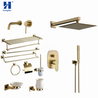 Hongdec Luxury Brass Brushed gold Wall Mount rainfall shower system Faucet Bathroom Accessories set