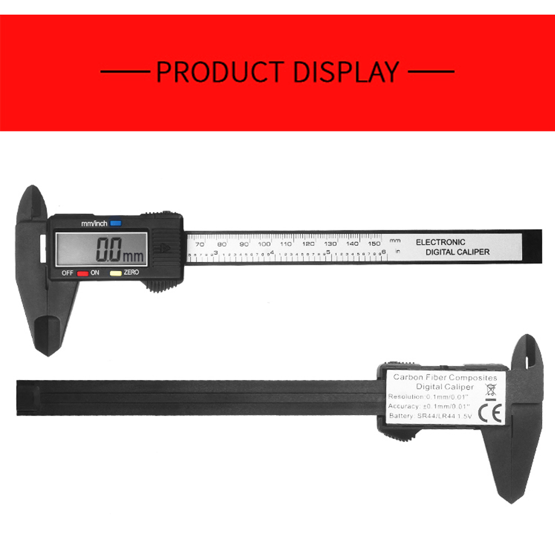 1pcs 150mm Electronic Digital Caliper 6 Inch Carbon Fiber Vernier Caliper Gauge Micrometer Measuring Tool Digital Ruler